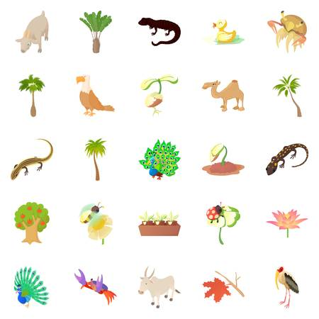 Animals and plants icons set, cartoon style Illustration