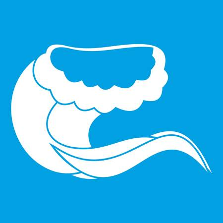 Curling and cracking wave icon white