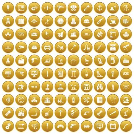 100 equipment icons set gold