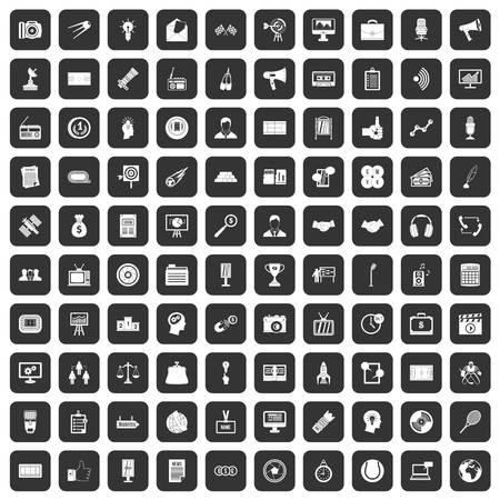 100 ikon nośników ustawiono na czarno Ilustracje wektorowe
