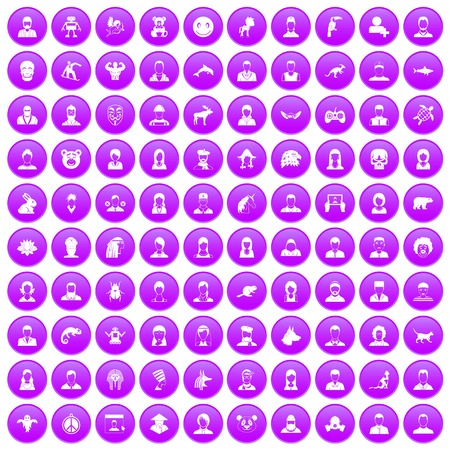 100 avatar icons set purple