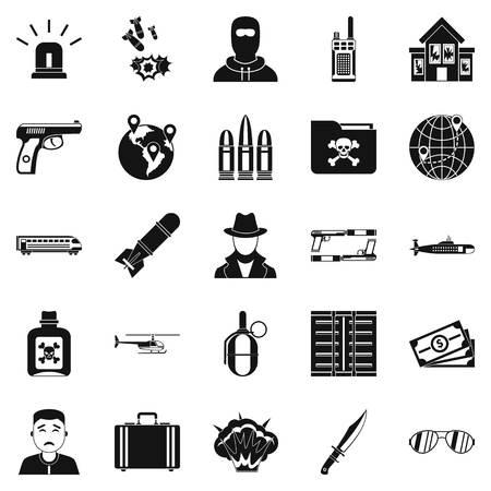 Antiterror icons set, simple style Ilustração