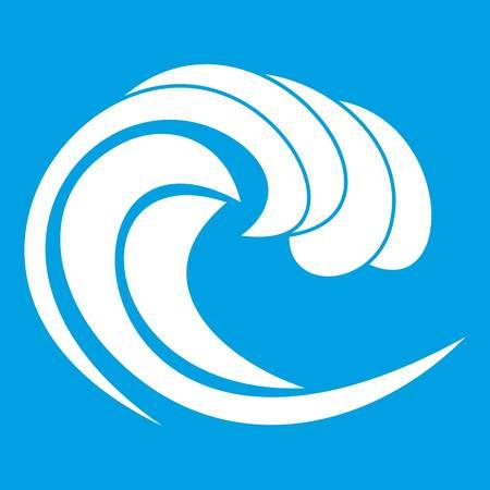 Wave of sea tide icon white