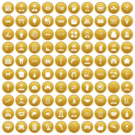 100 favorite work icons set gold Illustration