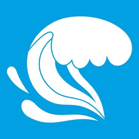 Surf wave icon white Illustration