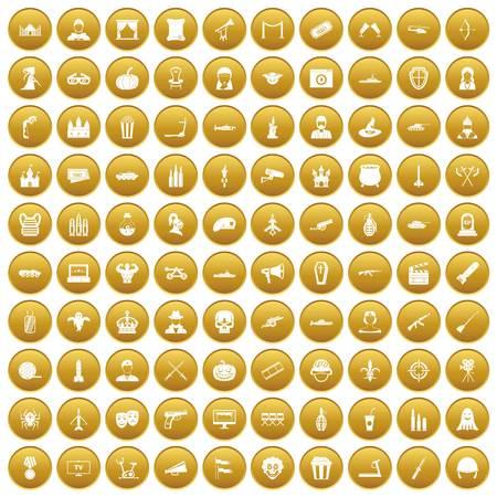 100 film icons set gold