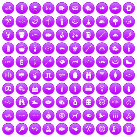 bbq barrel: 100 BBQ icons set purple