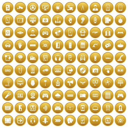 100 gadget icons set gold
