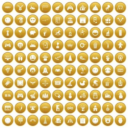100 funny icons set gold Illustration
