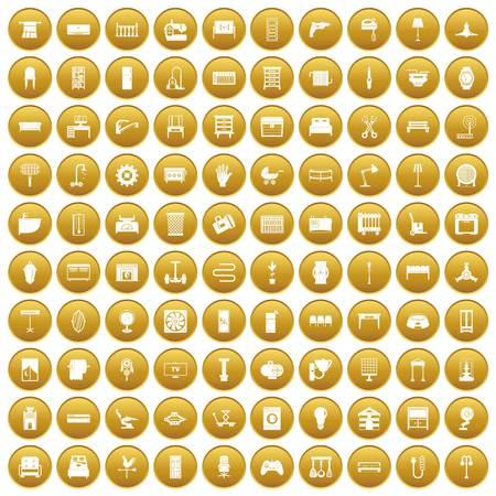 100 furnishing icons set gold