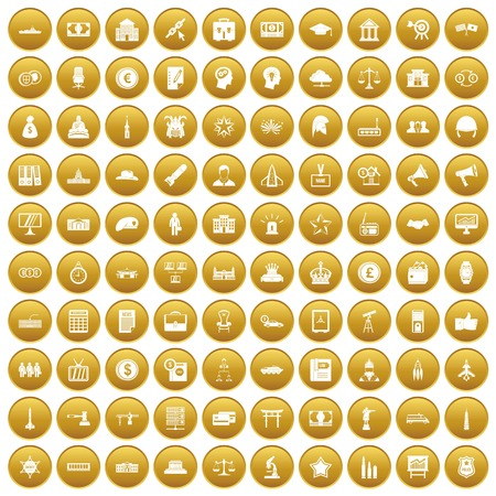 100 government icons set gold