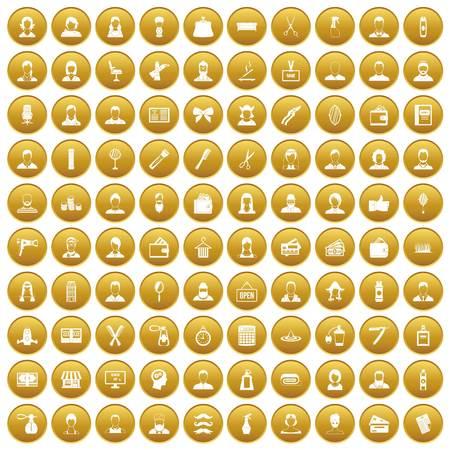 100 hairdresser icons set gold