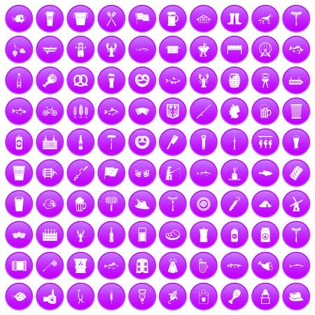 100 beer icons set purple