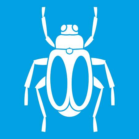 Dung beetle icon white. Vector illustration.