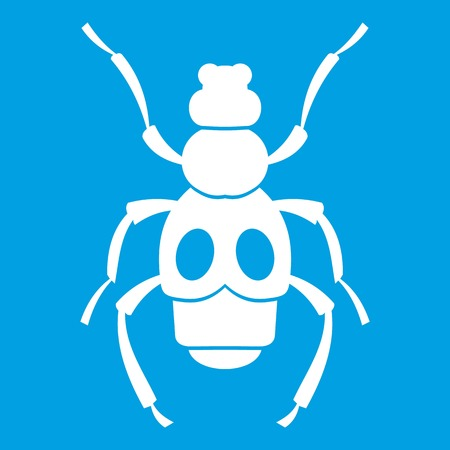 coleoptera: Beetle insect icon white. Vector illustration.