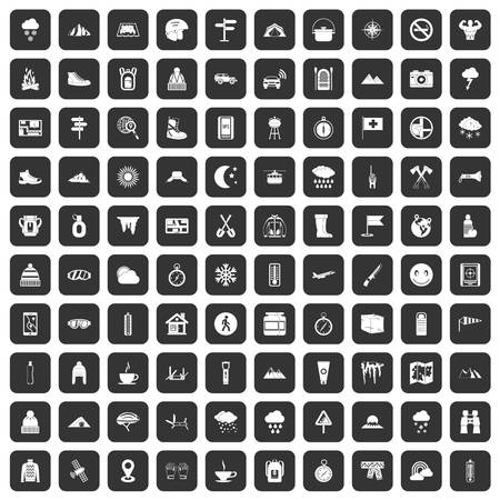 mountaineering: 100 mountaineering icons set black