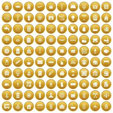 100 heating icons set gold