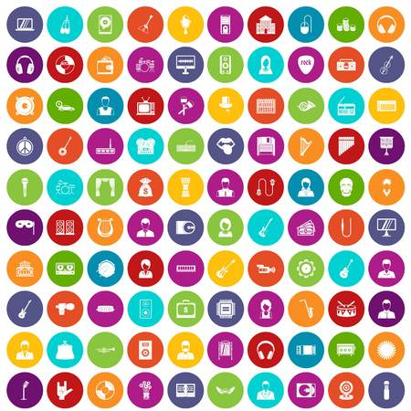 tenor: 100 music icons set color. Vector illustration. Illustration