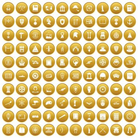 ship anchor: 100 history icons set gold Illustration