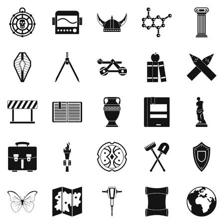 Conjunto de iconos de arqueología, estilo simple