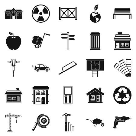 earthwork: Earthwork icons set, simple style