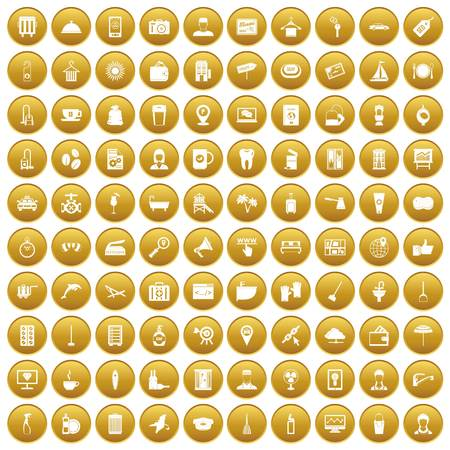 100 hotel services icons set gold