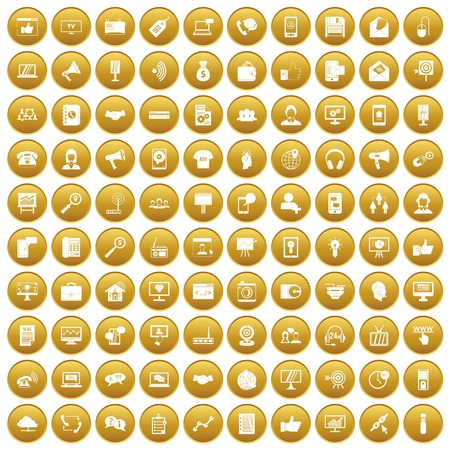 100 help desk icons set gold