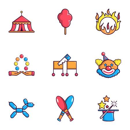 Circus icons set, flat style