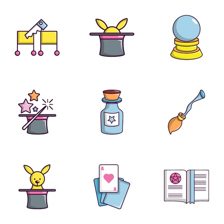 Magician icons set, flat style