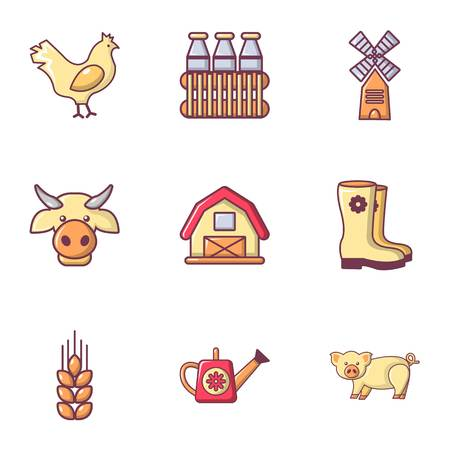 plow: Village farm icons set, flat style Illustration