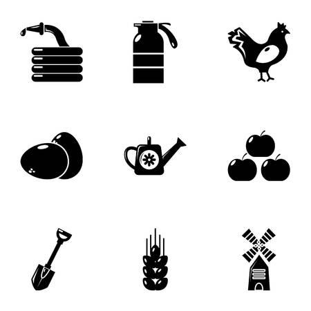 Village farm icons set, simple style Illustration