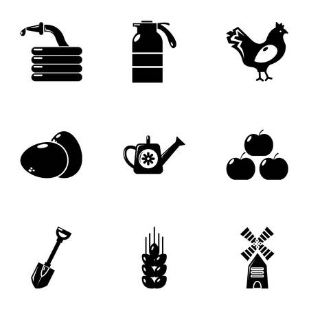 plow: Village farm icons set, simple style Illustration