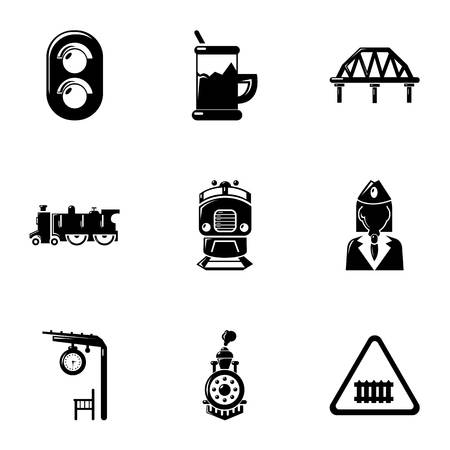 freight train: Railway steward icons set, simple style Illustration