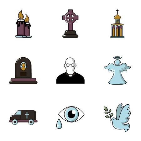 Funeral icons set, flat style Ilustração