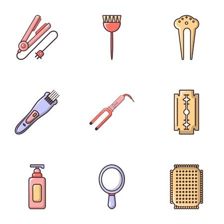 curler: Hairdressing salon icons set, flat style