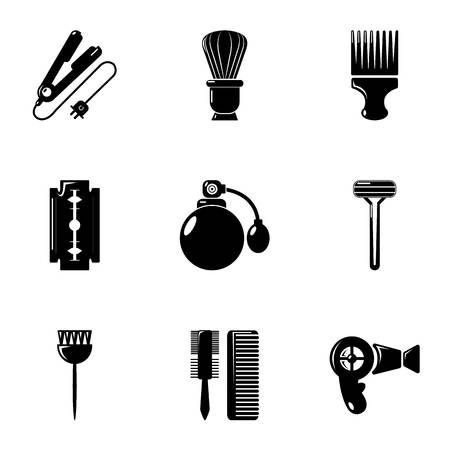 barbershop: Hairdressing salon icons set, simple style