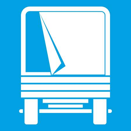 moving truck: Truck icon white isolated on blue background vector illustration Illustration
