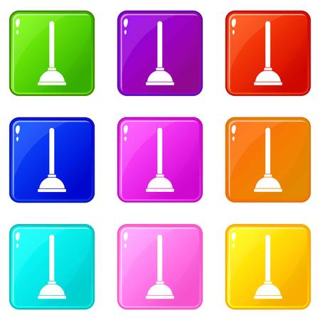 plumb: Toilet plunger icons of 9 color set isolated vector illustration Illustration