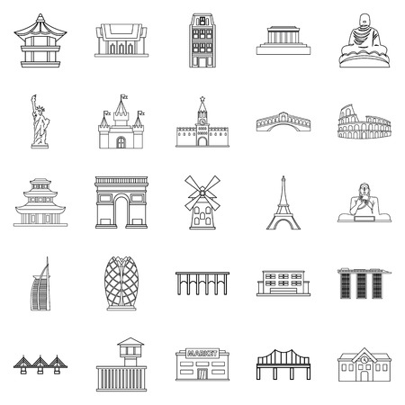 Construction icons set. Outline set of 25 construction vector icons for web isolated on white background