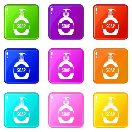 cleansing: Bottle of liquid soap icons of 9 color set isolated vector illustration