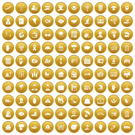 100 insurance icons set in gold circle isolated on white vectr illustration