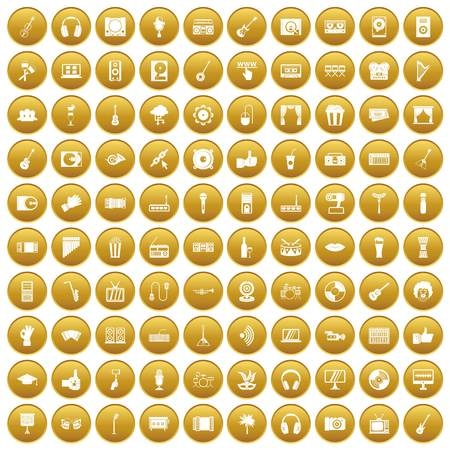 100 karaoke icons set in gold circle isolated on white vectr illustration