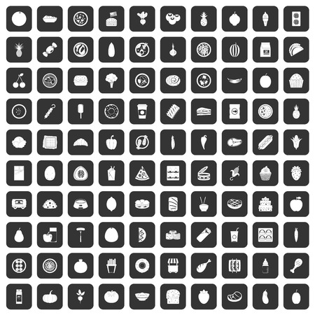 100 nutrition icons set in black color isolated vector illustration