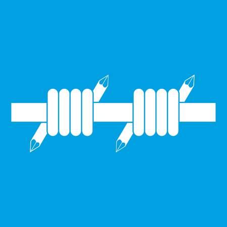 Barbed wire icon white isolated on blue background vector illustration