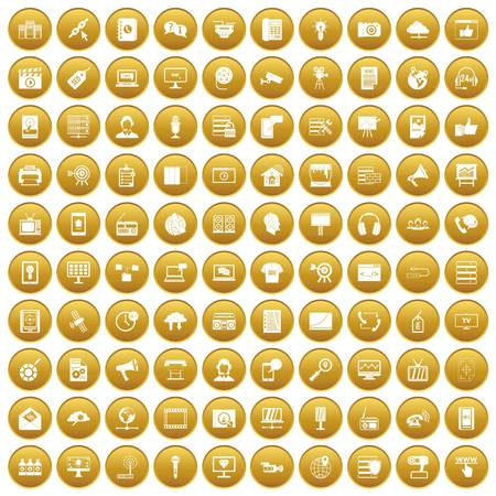 100 information technology icons set in gold circle isolated on white vectr illustration