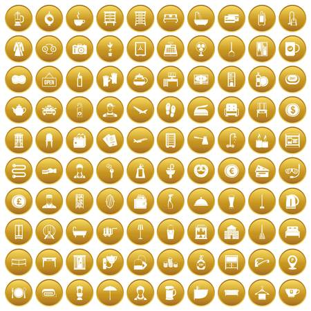 100 inn icons set in gold circle isolated on white vectr illustration