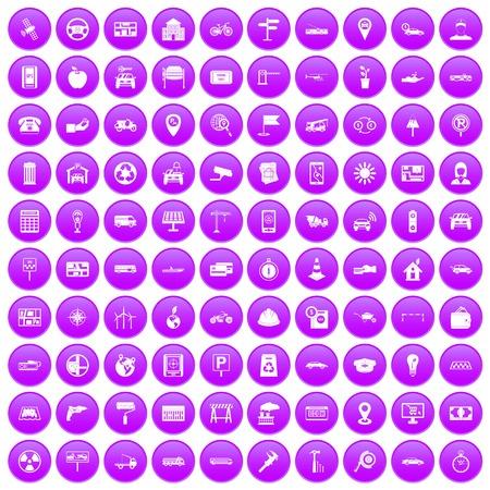 llave de sol: 100 iconos de coches en círculo púrpura aislado en blanco ilustración vectorial