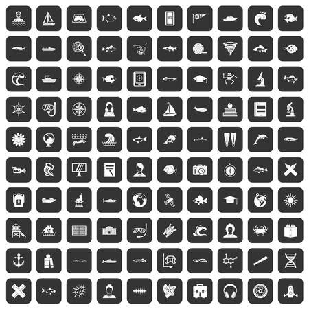 companion: 100 oceanologist icons set in black color isolated vector illustration