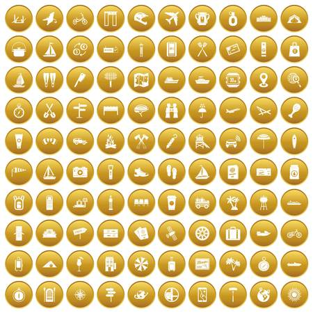 100 journey icons set in gold circle isolated on white vectr illustration Illustration