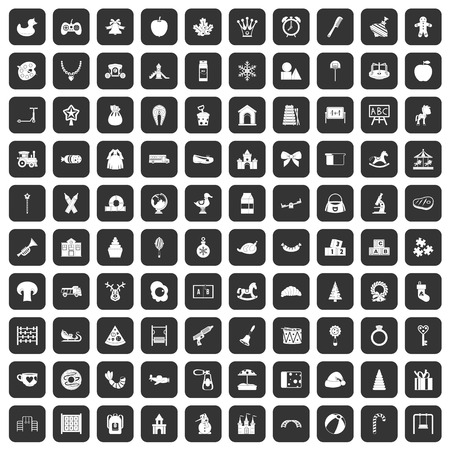 100 nursery school icons set in black color isolated vector illustration